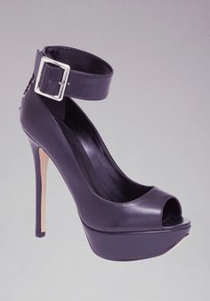 Lace up back, ankle cuff with buckle on platform stiletto heel....my kinda Biker Babe sexy!