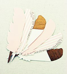 Feather escort cards place cards pink gold ivory by SepiaSmiles
