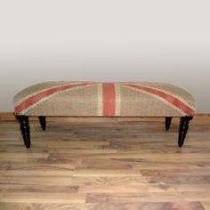 Hand-upholstered Union Jack Flag Wood Bench