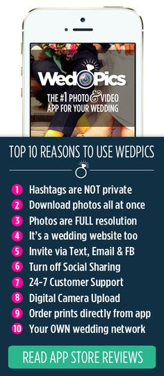 *Free for Everyone!* Your Weddings Guests will take A LOT of photos. Ever think how you will get them all? WedPics - The #1 Photo & Video Sharing App for Weddings! Available on iPhone, Android and Web (for those using digital cameras)!