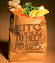 The Earned Income Tax Credit each year provides millions of eligible taxpayers with thousands of dollars in tax refund money. But 20% of qualifying taxpayers don't file for it. Don't be one of those missing out! (EITC Grocery Bag image via Community Action Partnership of Riverside County)
