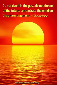 """""""Do not dwell in the past, do not dream of the future, concentrate the mind on the present moment."""" zenlama.com"""