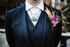 Topical Buttonhole Groom Orchid Bird Paradise Laid Back Local London Lido Wedding http://andrewbrannanphotography.co.uk/