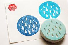 rain drop pattern stamp. geometric hand carved от talktothesun