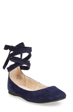 Free shipping and returns on Steve Madden 'Bloome' Wraparound Tie Flat (Women) at Nordstrom.com. Ballet-inspired ribbon laces top a velvety suede flat detailed with a rounded toe and comfortable cushioning in the footbed.