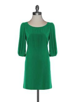 Zip Up Shift Dress in Kelly Green