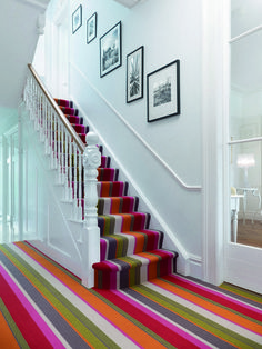 And if you want a room to feel longer? A striped carpet laid so the eye is drawn down the space will do the job nicely. Inspiration from www.californiashutters.co.uk