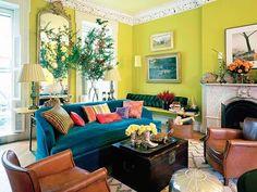 bright walls; colorful sofa; mirror  II  Hamilton Design Associates