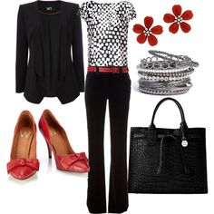 Black and white with pops of red, classic work attire