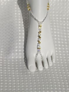 Gold Crystal Bridal Jewelry Foot Jewelry by SubtleExpressions