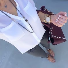 Express white portofino shirt  + grey jeans + nude strappy sandals + plum bag + Fossil Vintage Muse watch [Instagram: @ontheDailyX]