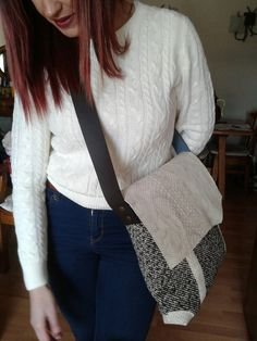Bolso lana-piel handmade bylamanu