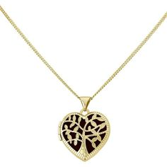 KeepSafe Gold Plated Sterling Silver Black Inset Tree of Life Heart... (900 SAR) ❤ liked on Polyvore featuring jewelry, pendants, sterling silver jewellery, heart shaped locket, black heart jewelry, sterling silver locket and gold plated jewelry