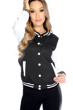 Add this cute jacket to your winter collection featuring; two tone, button up, long sleeves, side pockets, and fitted.