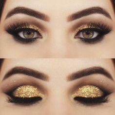 Sombra dourada glitter #GlitterRosto