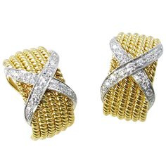 "TIFFANY SCHLUMBERGER Yellow Gold and Diamond ""Rope"" Earrings 