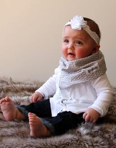 "All in One Scarf & Bib ""Scabib"" TM for babies or toddlers Gray Chevron. $12.00, via Etsy."