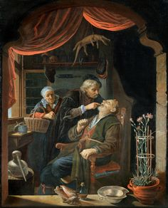 A Dentist Examining The Tooth of an Old Man Art Painting for sale. Shop your favorite Gerrit Dou A Dentist Examining The Tooth of an Old Man Art Painting without breaking your banks. Old Man Pictures, Gerrit Dou, Dental Images, Medieval, Art Paintings For Sale, Family Painting, Dutch Golden Age, Chiaroscuro, Ferdinand