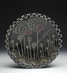 Marcy Neiditz - Sgraffito platter Sgraffito, Ceramic Artists, Platter, Surface Design, Decorative Bowls, Clay, Sculpture, Abstract, Painting