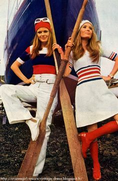cropped sweater top and sweater dress , red white blue ribbed waistband and cuff vintage 1960 60s 1969 twiggy
