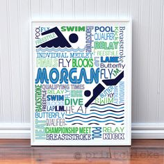 Custom Swimming Girl Bedroom Decor Personalized Swimmer Typography Poster - 11 x 14. $22.00, via Etsy.