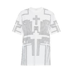 Givenchy Geometric Grid-print T-shirt (1.525 BRL) ❤ liked on Polyvore featuring tops, t-shirts, white print, oversized white tee, vintage graphic tees, white t shirt, givenchy tee and graphic design t shirts
