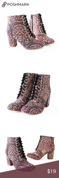 """ezar-jacquard lace up booties Style              : Booties Heel Height   : 3 1/4"""" Main Color     : multi-color Shaft Height   : Approx. 5 1/4"""" Main Material : Jacquard upper with synthetic sole Fit                   : True to size Lace up Stacked heel Side zip The shoes' bottom is designed preventing slipperiness rubber. delicious Shoes Ankle Boots & Booties"""