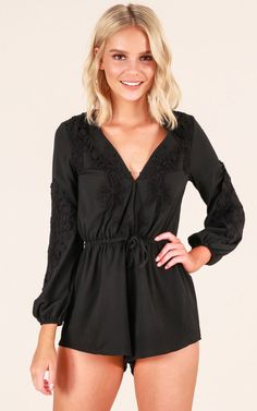 Showpo Love Is On playsuit in black - 10 (M) Rompers & Jumpsuits
