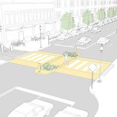 Midblock Crosswalks - National Association of City Transportation Officials Urban Design Concept, Urban Design Diagram, Urban Design Plan, Plan Design, Architecture Plan, Landscape Architecture, Architecture Diagrams, Architecture Portfolio, Urban Landscape