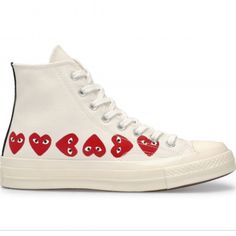 Play Converse Multi Heart Chuck Taylor All Star High Top.- Play Converse Multi Heart Chuck Taylor All Star High Top (White) Play Converse Multi Heart Chuck Taylor All Star High Top (White) - Red High Top Converse, High Top Sneakers, Sneakers Mode, White Converse, Sneakers Fashion, White Sneakers, Black Vans, Converse Outfits, Cdg Converse