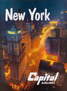 591f164883 New York Capital Airlines Vintage United States Travel Advertisement Poster