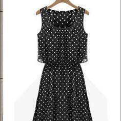 DRESS Elegant Long Chiffon Sleeveless Maxi Dress W/ Pock A Dots Dresses Maxi