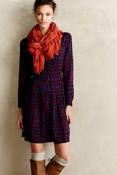 Blockprint Plaid Shirtdress #anthropologie Alexandra, this dress can be dressed up or dressed down. You can wear it with leggings or even over dressy jeans. It would go great with the wrap coat in plum.