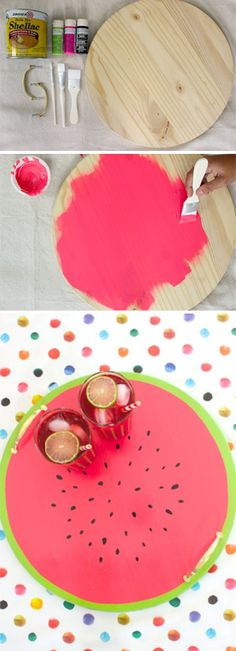Brighten your kitchen or a party with this cute DIY Watermelon wood tray! Plus, 22 other fun DIY projects to revive your kitchen. Summer Diy, Summer Crafts, Diy Décoration, Easy Diy, Fun Diy, Cute Crafts, Diy And Crafts, Creative Crafts, Ideias Diy