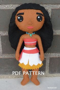 PDF patter to make a doll inspired in Moana Vaiana