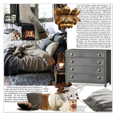 """""""Cozy Day"""" by dragananovcic ❤ liked on Polyvore featuring interior, interiors, interior design, home, home decor, interior decorating, Pottery Barn, Crate and Barrel and Renwil"""
