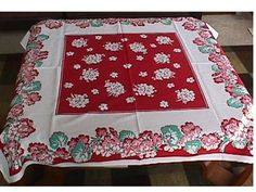 Vintage Geranium Tablecloth - I still have this one! Belonged to one of my grandmothers?