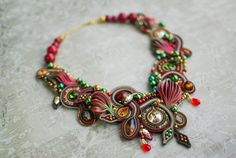 Soutache statement necklace, Green, red and gold necklace, Embroidery necklace, Beaded necklace, Soutache jewelry,  FREE SHIPPING
