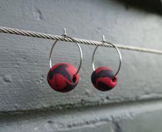 Red and black dangle hoop earrings, polymer clay jewellery, polymer clay earrings, dangle earrings, hoop dangles, statement hoops, FREE ship by LittlePeacockAU on Etsy