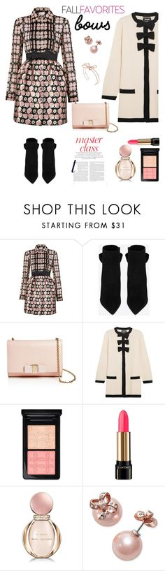 """Bows - Fall Favorites"" by ellie366 ❤ liked on Polyvore featuring RED Valentino, Yves Saint Laurent, Salvatore Ferragamo, Boutique Moschino, MAC Cosmetics, Lancôme, Bulgari, Kate Spade, Ted Baker and Boots"