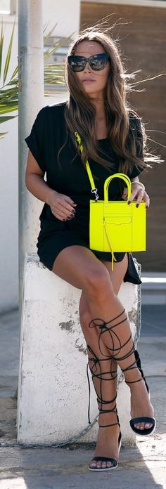 #spring #neon #trend #outfitideas | Black + Pop of Neon