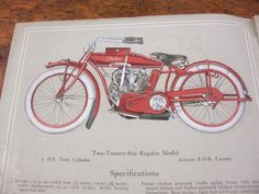 Original 1914 Indian Motorcycle Catalog, Early Motorcycle Collectibles, Hendee Manufacturing Co, Springfield Mass, Red, Gray