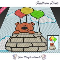Balloon Bear crochet blanket pattern; c2c, knitting, cross stitch graph; pdf download; no written counts or row-by-row instructions by TwoMagicPixels, $3.79 USD