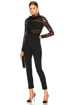Image 1 of Zuhair Murad Lace Low Back Jumpsuit in Black Girls Night Out Dresses, Night Outfits, Classy Outfits, Fashion Outfits, Womens Fashion, Lace Jumpsuit, Playsuit Romper, Lace Romper, Cocktail Attire For Women