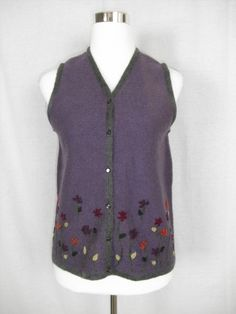 12.55$  Buy here - http://viuye.justgood.pw/vig/item.php?t=ayk8of10643 - Sag Harbor Petite Medium Purple Wool Vest Embroidery Embellishment