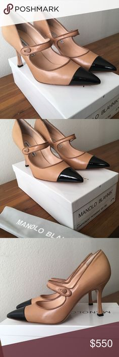 Manolo Blahnik Camlapari Mary Jane BiegeBlack 37.5 Manolo Blahnik Campari Mary Janes The iconic Manolo Blahnik sleek Campari Mary Jane in an elegant beige with cap toe detail reminiscent of classic Chanel. Leather upper, lining, and sole Grosgrain trim Patent leather cap toe Buttoned strap overstep Covered heel Handmade in Italy New in original Manolo Blahnik shoe box, with dust bag Size: 37.5 Heel: 3.5 in/ 90mm pitch Condition: new in original packaging. Never worn; pristine mint condition.