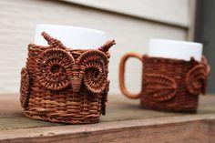 Vintage OWL Mugs - Set of TWO - Wicker Animal Mug Holders from Avon 1987