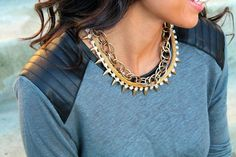 Our Link Chain Necklace & Spike Crystal Necklace make the perfect combo! Get yours now at: http://psiloveyoumore.storenvy.com/collections/122435-necklaces