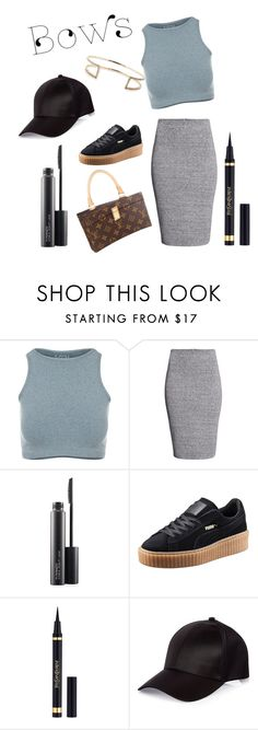 """riri outfit🎈"" by sunlighter ❤ liked on Polyvore featuring Free People, H&M, MAC Cosmetics, Jacquie Aiche, Louis Vuitton, Puma, Yves Saint Laurent and River Island"