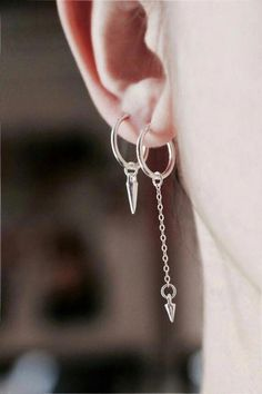 Solid 925 Sterling Silver Polished 3-Heart Post Earrings 3.7mm x 14mm
